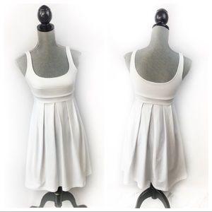 Susana Monaco Pleated S White Fit & Flare  Dress